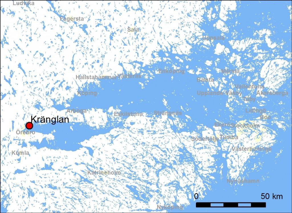 Strandnivån för ca 3000 f Kr då Mälaren och Hjälmaren bildade en sammanhängande havsvik. För Örebroområdet betyder det att havsnivån låg ca 33 meter över dagens nivå.