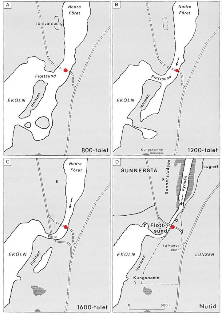 Fyra stadier i Flottsundsområdets utveckling. Nutida vägnät markerat och platsen för utredningen markerad med röd prick.
