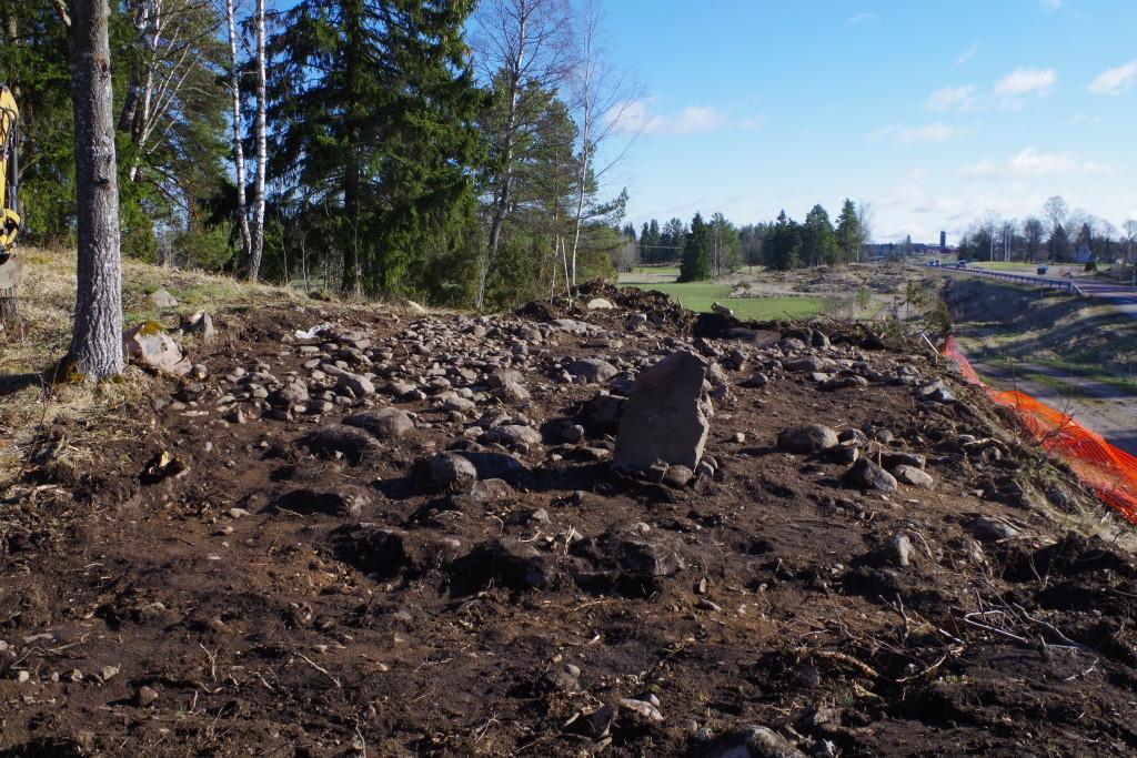 Vår undersökningsyta med en fin rest sten centralt i bild.